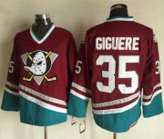 Wholesale Cheap Ducks #35 Jean-Sebastien Giguere Red CCM Throwback Stitched NHL Jersey