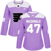 Wholesale Cheap Adidas Flyers #47 Andrew MacDonald Purple Authentic Fights Cancer Women's Stitched NHL Jersey