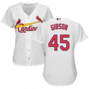 Wholesale Cheap Cardinals #45 Bob Gibson White Women's Home Stitched MLB Jersey