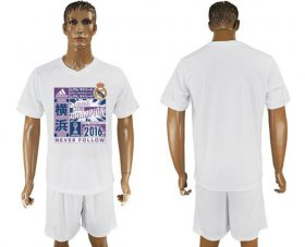Wholesale Cheap Real Madrid Blank White Soccer Club T-Shirt