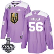 Wholesale Cheap Adidas Golden Knights #56 Erik Haula Purple Authentic Fights Cancer 2018 Stanley Cup Final Stitched NHL Jersey