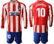 Wholesale Atletico Madrid #10 Carrasco Home Long Sleeves Soccer Club Jersey