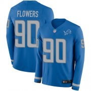 Wholesale Cheap Nike Lions #90 Trey Flowers Blue Team Color Men's Stitched NFL Limited Therma Long Sleeve Jersey