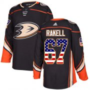 Wholesale Cheap Adidas Ducks #67 Rickard Rakell Black Home Authentic USA Flag Stitched NHL Jersey
