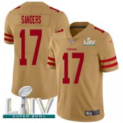 Wholesale Cheap Nike 49ers #17 Emmanuel Sanders Gold Super Bowl LIV 2020 Men's Stitched NFL Limited Inverted Legend Jersey