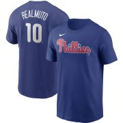 Wholesale Cheap Philadelphia Phillies #10 JT Realmuto Nike Name & Number T-Shirt Royal