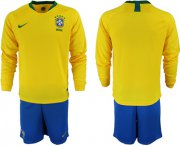 Wholesale Cheap Brazil Blank Home Long Sleeves Soccer Country Jersey
