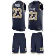 Wholesale Cheap Nike Rams #23 Cam Akers Navy Blue Team Color Men's Stitched NFL Limited Tank Top Suit Jersey