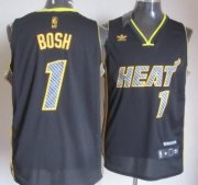 Wholesale Cheap Miami Heat #1 Chris Bosh Black Electricity Fashion Jersey