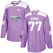 Wholesale Cheap Adidas Capitals #77 T.J. Oshie Purple Authentic Fights Cancer Stitched Youth NHL Jersey