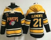 Wholesale Cheap Pirates #21 Roberto Clemente Black Sawyer Hooded Sweatshirt MLB Hoodie