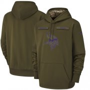 Wholesale Cheap Men's Minnesota Vikings Nike Olive Salute to Service Sideline Therma Performance Pullover Hoodie