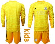 Wholesale Cheap Leicester City Blank Yellow Goalkeeper Long Sleeves Kid Soccer Club Jersey