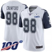Wholesale Cheap Nike Cowboys #98 Tyrone Crawford White Men's Stitched With Established In 1960 Patch NFL Limited Rush 100th Season Jersey
