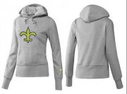 Wholesale Cheap Women's New Orleans Saints Logo Pullover Hoodie Grey