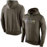 Wholesale Cheap Men's Seattle Seahawks Nike Olive Salute To Service KO Performance Hoodie