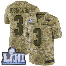 Wholesale Cheap Nike Patriots #3 Stephen Gostkowski Camo Super Bowl LIII Bound Men\'s Stitched NFL Limited 2018 Salute To Service Jersey
