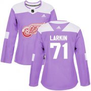 Wholesale Cheap Adidas Red Wings #71 Dylan Larkin Purple Authentic Fights Cancer Women's Stitched NHL Jersey