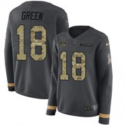 Wholesale Cheap Nike Bengals #18 A.J. Green Anthracite Salute to Service Women's Stitched NFL Limited Therma Long Sleeve Jersey