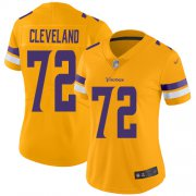 Wholesale Cheap Nike Vikings #72 Ezra Cleveland Gold Women's Stitched NFL Limited Inverted Legend Jersey