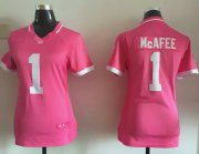 Wholesale Cheap Nike Colts #1 Pat McAfee Pink Women's Stitched NFL Elite Bubble Gum Jersey