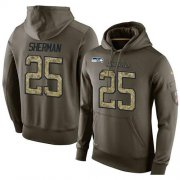 Wholesale Cheap NFL Men's Nike Seattle Seahawks #25 Richard Sherman Stitched Green Olive Salute To Service KO Performance Hoodie