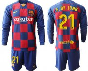 Wholesale Cheap Barcelona #21 F.De Jong Home Long Sleeves Soccer Club Jersey