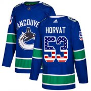 Wholesale Cheap Adidas Canucks #53 Bo Horvat Blue Home Authentic USA Flag Youth Stitched NHL Jersey
