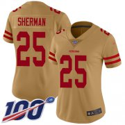 Wholesale Cheap Nike 49ers #25 Richard Sherman Gold Women's Stitched NFL Limited Inverted Legend 100th Season Jersey