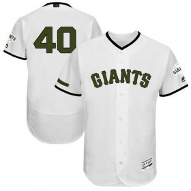 Wholesale Cheap Giants #40 Madison Bumgarner White Flexbase Authentic Collection Memorial Day Stitched MLB Jersey