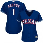 Wholesale Cheap Rangers #1 Elvis Andrus Blue Alternate Women's Stitched MLB Jersey