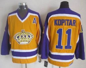 Wholesale Cheap Kings #11 Anze Kopitar Yellow CCM Throwback Stitched NHL Jersey