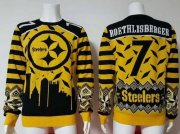 Wholesale Cheap Nike Steelers #7 Ben Roethlisberger Yellow/Black Men's Ugly Sweater