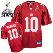 Wholesale Cheap Giants #10 Eli Manning Red Super Bowl XLVI Embroidered NFL Jersey