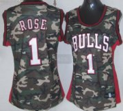 Wholesale Cheap Chicago Bulls #1 Derrick Rose Camo Fashion Womens Jersey
