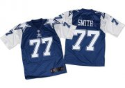 Wholesale Nike Cowboys #77 Tyron Smith Navy Blue/White Throwback Men's Stitched NFL Elite Jersey