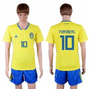 Wholesale Cheap Sweden #10 Forsberg Home Soccer Country Jersey