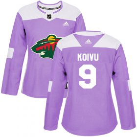 Wholesale Cheap Adidas Wild #9 Mikko Koivu Purple Authentic Fights Cancer Women\'s Stitched NHL Jersey