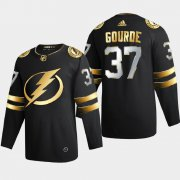 Cheap Tampa Bay Lightning #37 Yanni Gourde Men's Adidas Black Golden Edition Limited Stitched NHL Jersey