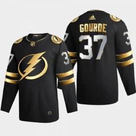 Cheap Tampa Bay Lightning #37 Yanni Gourde Men\'s Adidas Black Golden Edition Limited Stitched NHL Jersey