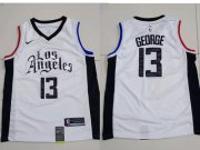 Wholesale Cheap Men's Los Angeles Clippers 13 Paul George White City Edition Nike Swingman Jersey