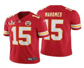 Wholesale Cheap Men\'s Kansas City Chiefs #15 Patrick Mahomes Red 2021 Super Bowl LV Vapor Untouchable Stitched Nike Limited NFL Jersey