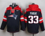Wholesale Cheap Nike Patriots #33 Kevin Faulk Navy Blue Player Pullover NFL Hoodie
