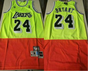 Wholesale Cheap Men\'s Los Angeles Lakers #24 Kobe Bryant Green Red Split Hardwood Classics Jersey