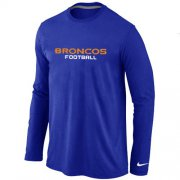 Wholesale Cheap Nike Denver Broncos Authentic Font Long Sleeve T-Shirt Blue