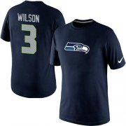 Wholesale Cheap Nike Seattle Seahawks #3 Russell Wilson Name & Number NFL T-Shirt Blue