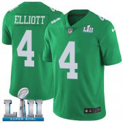 Wholesale Cheap Nike Eagles #4 Jake Elliott Green Super Bowl LII Youth Stitched NFL Limited Rush Jersey