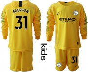 Wholesale Cheap Manchester City #31 Ederson Yellow Goalkeeper Long Sleeves Kid Soccer Club Jersey