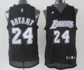 Wholesale Cheap Los Angeles Lakers #24 Kobe Bryant Black With Silvery Swingman Jersey