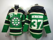 Wholesale Cheap Bruins #37 Patrice Bergeron Green St. Patrick's Day McNary Lace Hoodie Stitched NHL Jersey